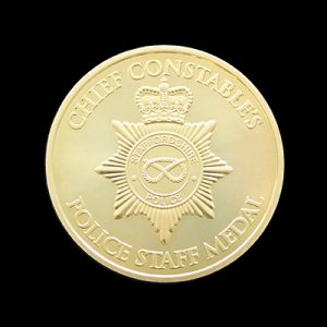 Staffordshire Police Service Medal - 38mm gold minted Chief Constables Anniversary Medal - by Medals UK