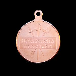 HFA sports medal (Hertfordshire Fencing Association) 50mm silver minted custom made sports Medal with HFA Crest