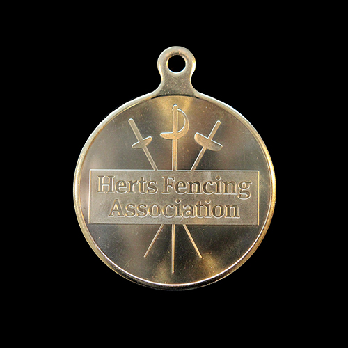 HFA sports medal (Hertfordshire Fencing Association) 50mm gold/silver/bronze minted Custom Made Sports Medal with HFA Crest