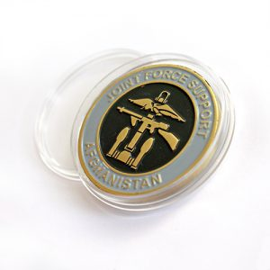 RAF Wittering 45mm Enameled Gold Commander Joint Force Support Afghanistan Commemorative Coin