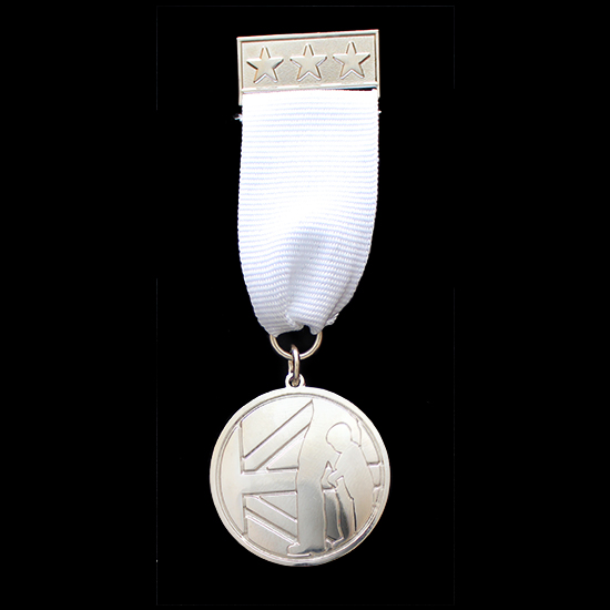 Little Troopers Medal 32mm Silver Frosted/Polished Military Medal with white ribbon