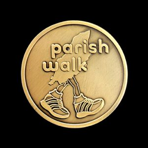 Manx Parish Walk 2014 medals sponsored by Manx Telecom. 50mm gold antique finished custom made sports medals
