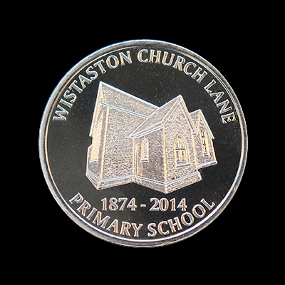 Wistaston Church Commemorative Coin - Wistaston Church Lane Primary School 38mm Silver Minted 1874-2014 Anniversary Commemorative Coin - by Medals UK