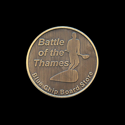 Battle of the Thames sports medals - 50mm silver minted Blue Chips windsurfing commemorative coin - Medals UK