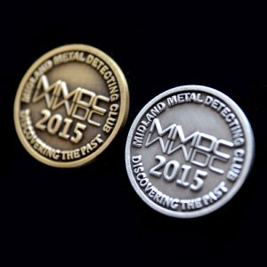 Midlands Metal Detecting Club Commemorative Coin - 20mm gold and silver antique finish commemorative sports coins - Medals UK