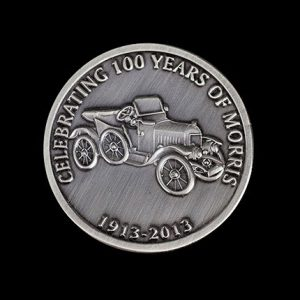 Morris Minor Anniversary Coin - 38mm silver antique 100th Anniversary Commemorative Coin by Medals UK