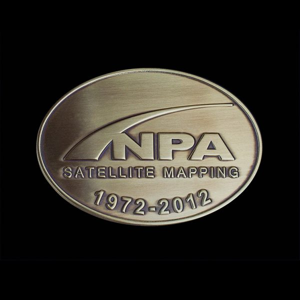 NPA Anniversary Medal - Custom Made Medal for NPA Satellite Mapping- 100x70mm gold antique 1972-2012 50th Anniversary Medal - by Medals UK