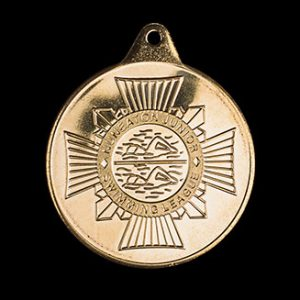 Nuneaton Swimming Sports Medals - Nuneaton Junior League 38mm Gold Minted Crest Sports Medal
