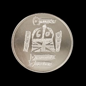 Diamond Jubilee Anniversary Commemorative Coin 38mm Silver Minted Anniversary Commemorative Coin - Medals UK