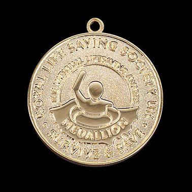 RLSS Medallion Award 40mm Gold Frosted/Polished Sports Medal Rev