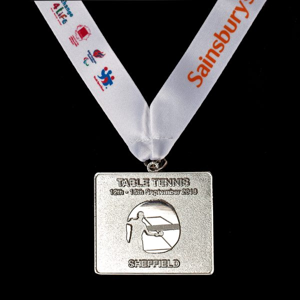 Sainsbury's School Games 2013 Finals 50mm Gold Frosted/Polished Rectangle Sports Medal for Rugby Sevens with a white ribbon with coloured printed text and logos