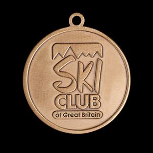 Ski Club GB Sports Medal - 38mm gold antique custom made sports medal - Medals UK