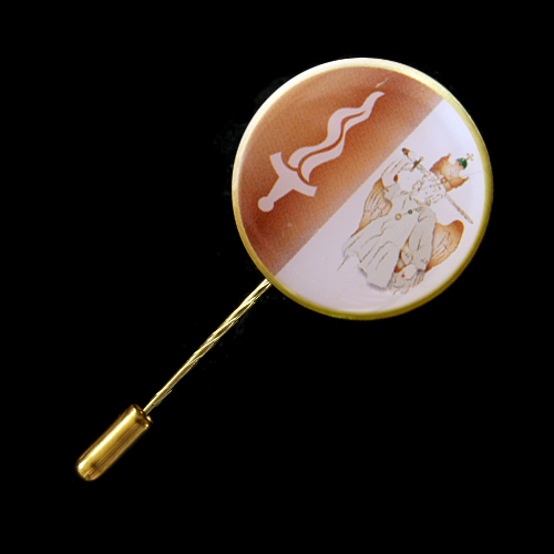 St Michael 25mm Gold with Printed Insert Stick Pin