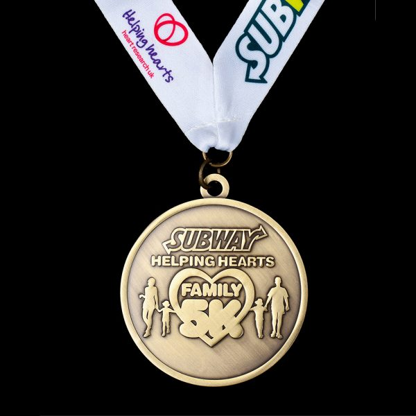 Subway Family 5K Fun Run Sports Medal - 50mm antique bespoke sports medals with printed ribbon