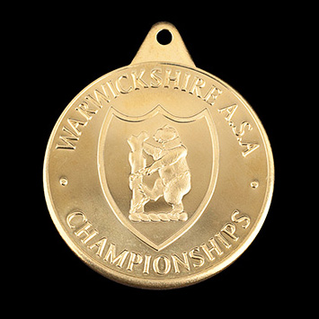 Warwickshire ASA Sports Medal - 38mm gold minted bespoke sports medal - by Medals UK