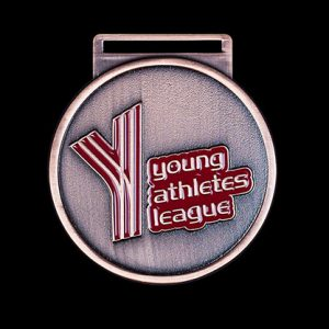 Young Athletics League Sports Medal - Custom made 50mm bronze enamelled antique bespoke sports medal