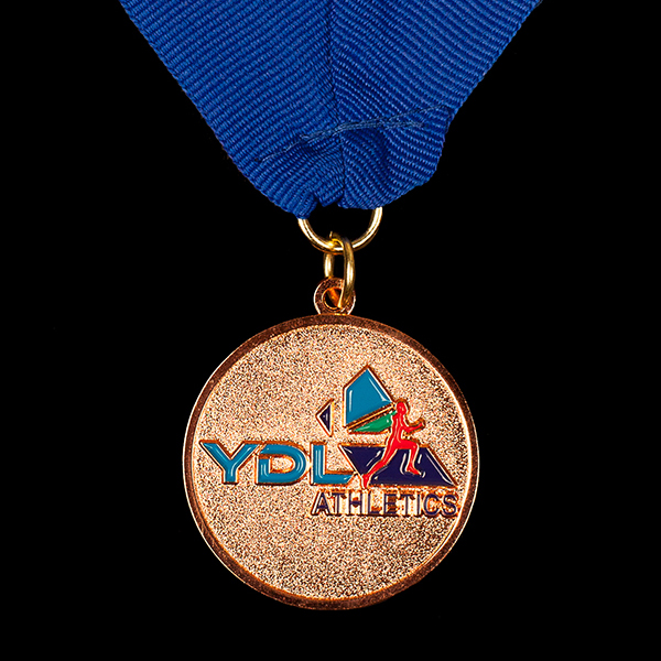 YDL Athletics Sports Medals - Youth Development League 38mm bronze enamelled frosted polished bespoke sports medal with blue ribbon