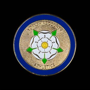Yorkshire County Athletics Sports Medals - 50mm gold enamelled frosted polished custom made sports medal - Medals UK