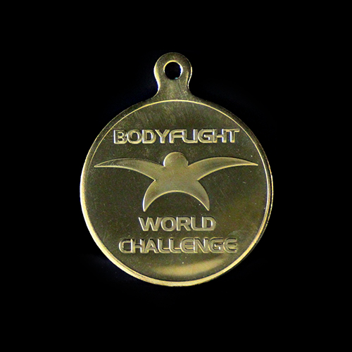 Body Flight World Challenge Winners Medals in Gold to commemorative winners of the 2016 indoor skydiving event.
