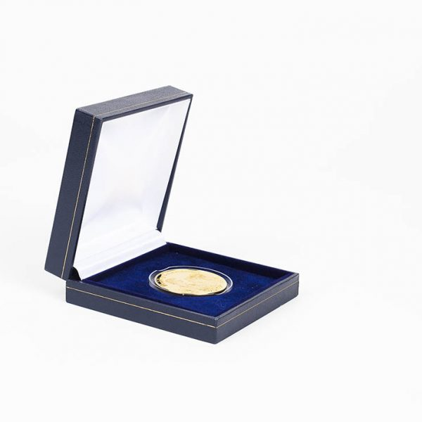 Wedding Commemorative Coin - 38mm gold minted coin in a blue presentation case to celebrate wedding days - by Medals UK