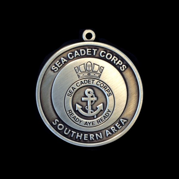 50mm Silver Antique Smooth Sea Cadet Corp National Competitive Events Awards Medals Obverse