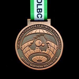 75mm Bronze Antique Smooth International Deaf Bowls Championship Sports Medals