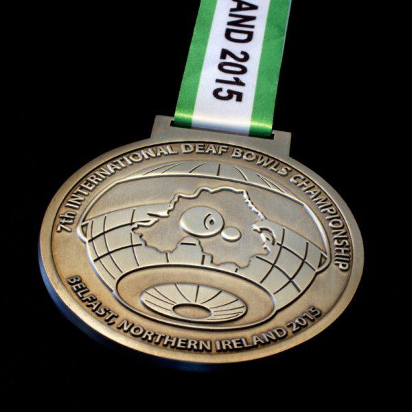 75mm Gold Antique International Deaf Bowls Championship Sports Medals