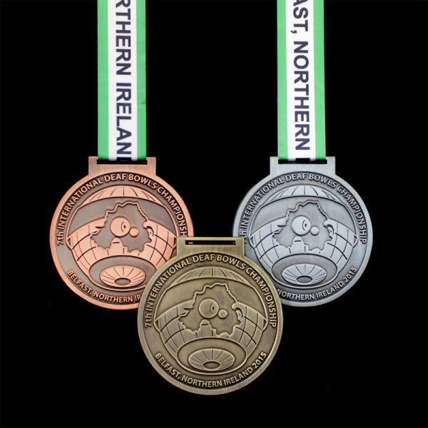 75mm Gold Silver and Bronze Antique Smooth International Deaf Bowls Championship Sports Medals