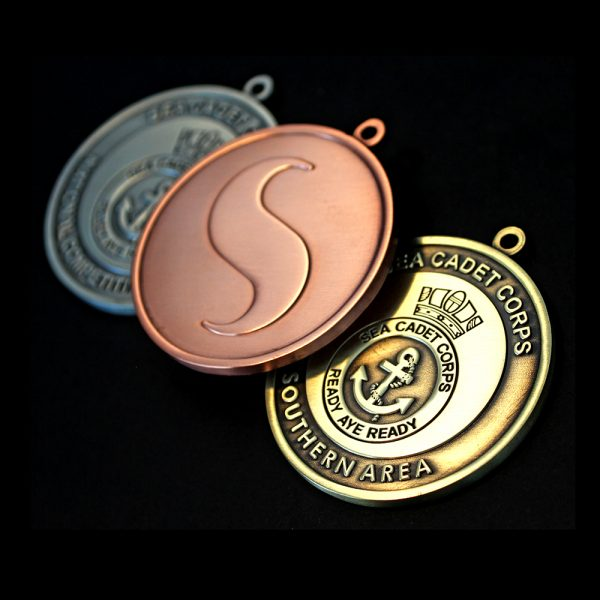Gold Silver and Bronze Sea Cadet Corp National Competitive Events Awards Medals Obverse and Reverse