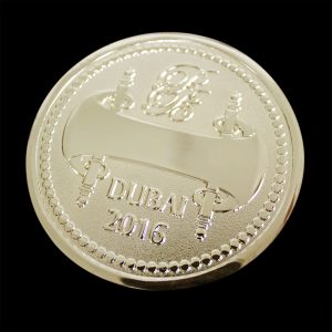 Reverse of Commemorative coin for Royal Bridges was custom made by Medals UK to celebrate the 2016 Convergence in Dubai in gold