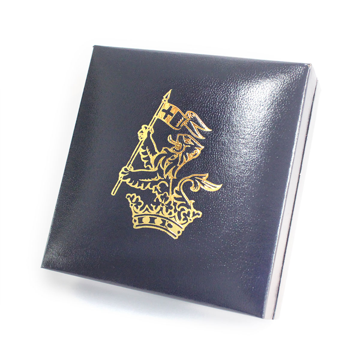 The Duke and Duchess of Wellington Presentation Cases with close up of royal crest