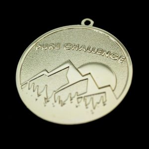 Pure Challenge Charity Fundraising Medals 50mm in gold with frosted polished finish by Medals UK