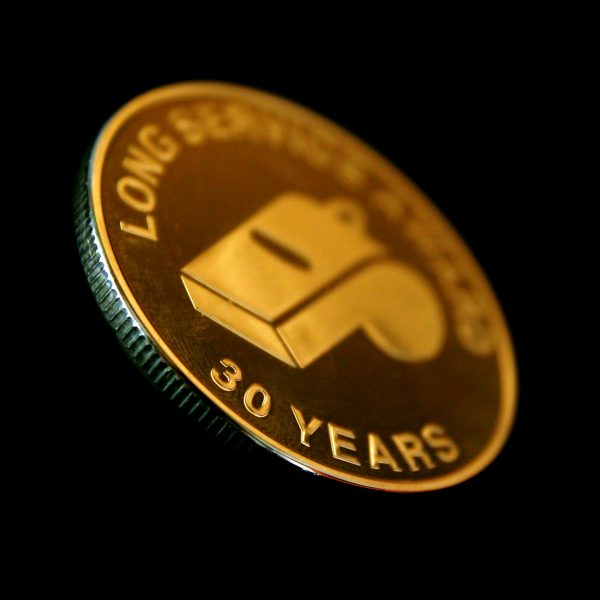 Close up of Devon County FA Long Service Commemorative Coins - 38mm in Gold Semi-Proof - 30 Years Award- by Medals UK