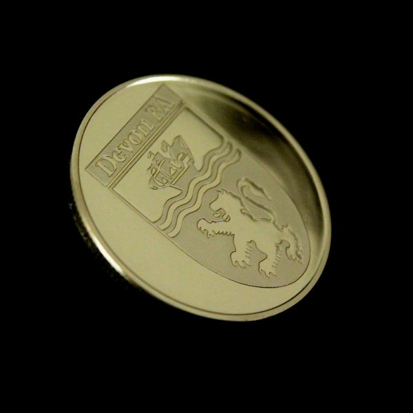 38mm Gold Semi-Proof Devon FA Long Service Commemorative Coins - 30 Years for Devon County FA Limited Rev - by Medals UK
