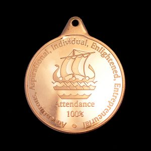 Galleywall Academy Education Attendance Medals - 38mm Bronze Minted Bright Pendant for 100% Attendance by Medals UK
