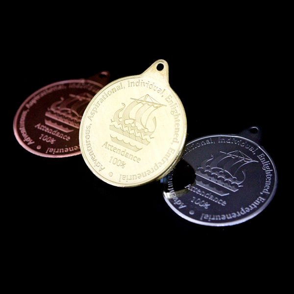 Galleywall Academy Education Attendance Medals - 38mm in Gold Silver and Bronze Minted Bright Medals for 100% Attendance - produced for Galleywall Primary City of London Academy