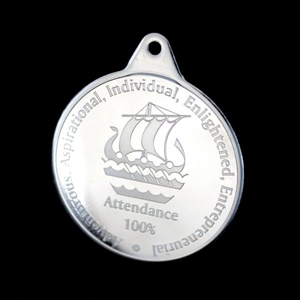 38mm Silver Minted Bright Galleywall Academy Education Attendance Medals for 100% Attendance by Medals UK