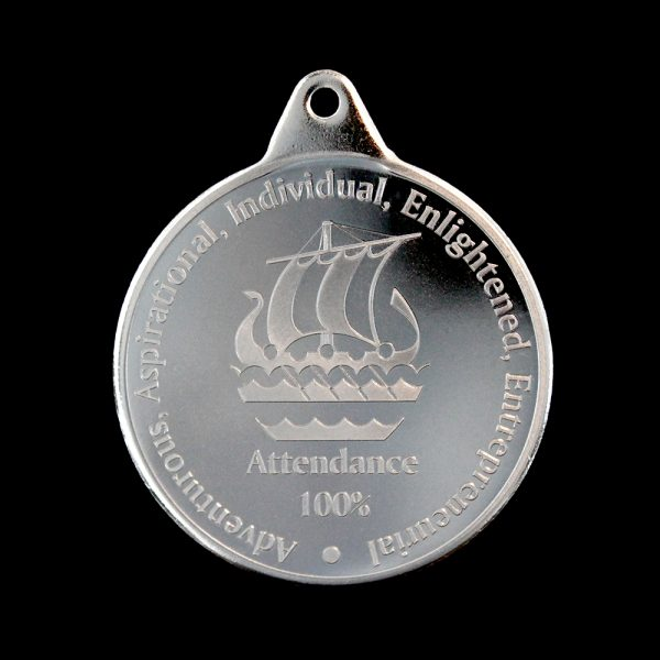Galleywall Academy Education Attendance Medals - 38mm Silver Minted Bright Pendant for 100% Attendance by Medals UK