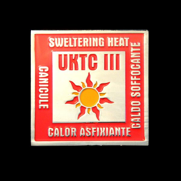 UKTC Commemorative Square Coins - 40mm Silver Enamelled Coin in Red featuring Sweltering Heat Message for UKTC III Naf Challenge