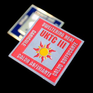 UKTC Commemorative Square Coins - 40mm Gold and Silver Enamelled in Red and Blue for UKTC III Naf Challenge