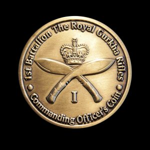 Royal Gurkha Rifles Military Coin - 50mm Gold Antique Colour Medal - Commanding Officer's Coin Reverse