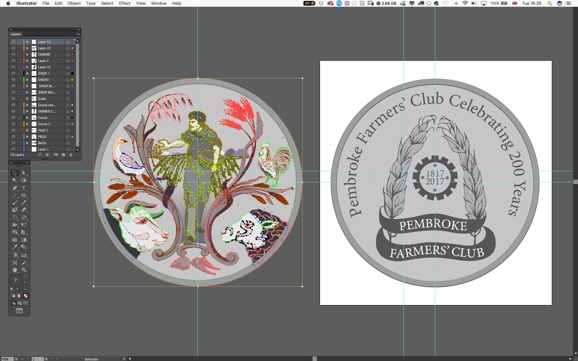 Pembroke Farmers' Club Coin - design illustration