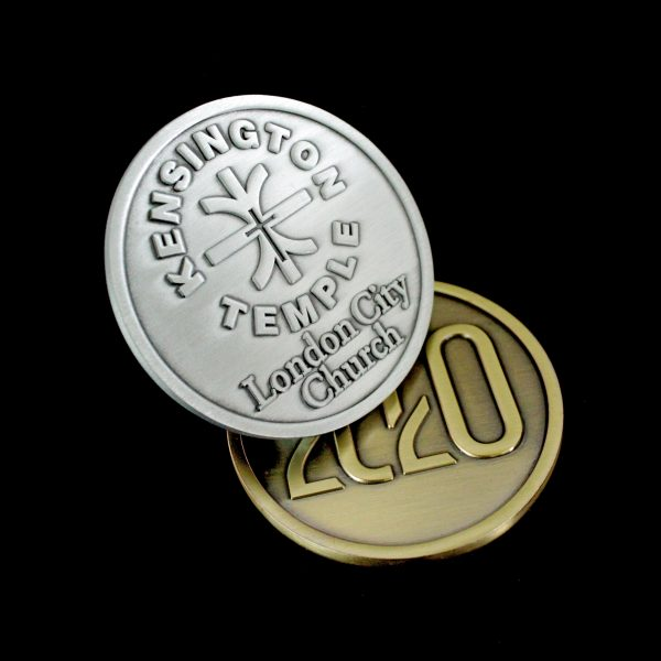 Bespoke Kensington Temple Commemorative Coins - 50mm Gold and Silver Antique Smooth Finish combination coins