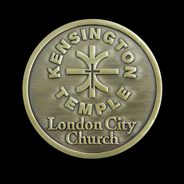 50mm Gold Antique Smooth Bespoke Kensington Temple Commemorative Coins