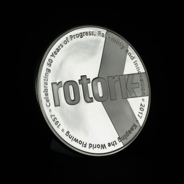 50mm Silver, bright minted Rotork Anniversary Coin to commemorate 60th year anniversary