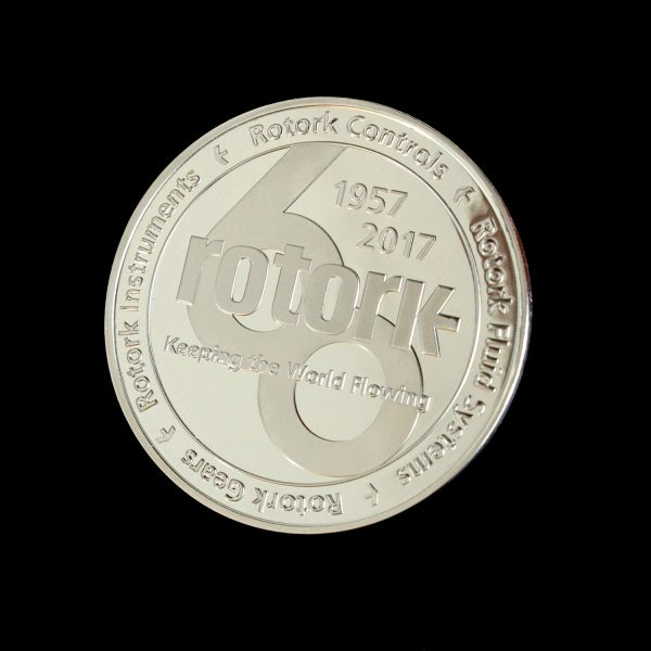 50mm Silver Minted Bright Commemorative Rotork Anniversary Coin celebrating 60 years
