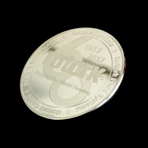 Reverse Rotork Anniversary Coin Celebrating 60 Years - 50mm Silver Minted Bright Commemorative Coin