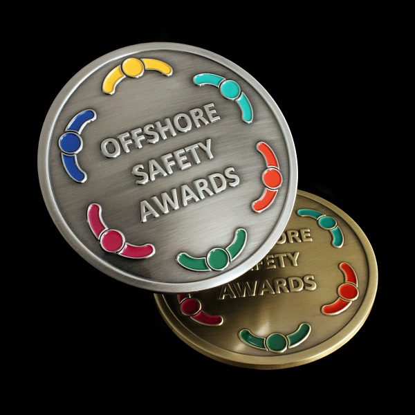 Offshore Safety Awards Medal gold and silver