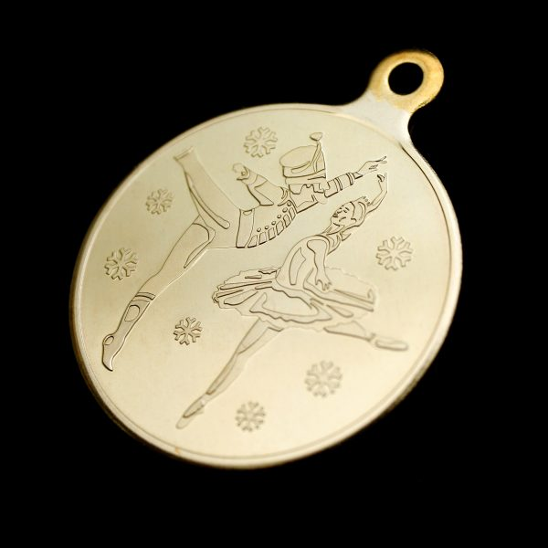 Close up of front of 50mm Gold minted frosted polished English National Ballet Commemorative Medal