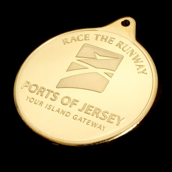 Close up if Ports of Jersey Ride the Runway gold medal